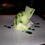 Dessert at Kauai Grill: white chocolate and yuzu pavlova with thai basil syrup.