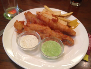 Fish & chips and mushy peas at the Queen's Pub in Dalkey.
