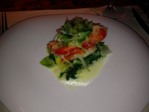 Dinner at Jean-Georges Vongerichten's Kauai Grill at the St. Regis. This is sauteed lobster with butter cabbage, scallion and ginger.