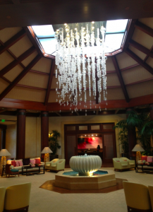 The St. Regis lobby, beautiful chandelier.