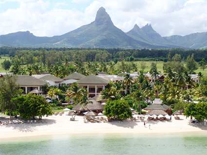 The Hilton Mauritius' waterfront with dramatic scenery in the background.