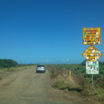 The bumpy road to Polihale Beach. Thanks goodness our rental was a pick-up!