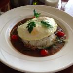 Breakfast at the Ilima Terrace restaurant: moco loco beef patty with rice. Very Hawaiian!