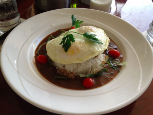Breakfast at the Ilima Terrace restaurant: moco loco beef patty with rice. Very Hawaiian!