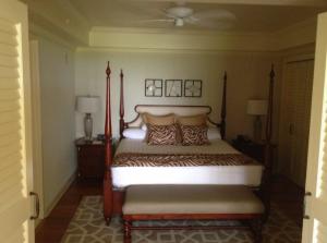 The bedroom of my ground level garden view suite.