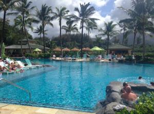 The St. Regis's gorgeous pool...folks enjoying the jacuzzi.