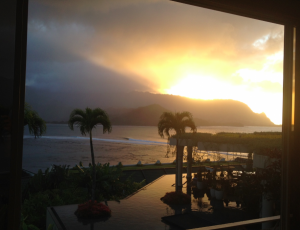 Stunning sunset over Hanalei Bay from the St. Regis Princeville.