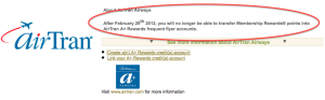 Last Days to Transfer Amex Points to Airtran
