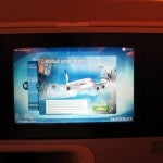 The in-flight entertainment screen is mounted in the preceding seatback and is 15.4 inches.