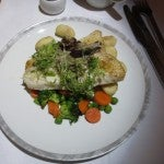 Breakfast: Tilapia with gnocchi and mixed vegetables.