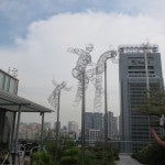 Sculptures on the Orchard Central's roof deck.
