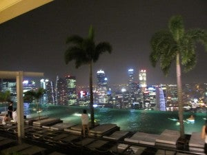 A view of Singapore from the now famous infinity pool on the roof of the Marina Bay Sands Hotel.