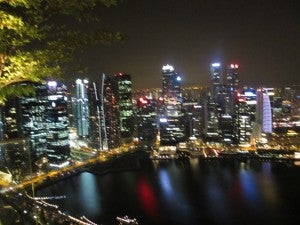 Another night shot of the Singapore skyline from Marina Bay Sands.