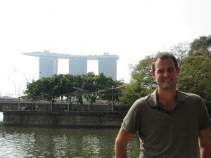 Across the water from the Marina Bay Sands.