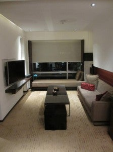 The living room of my suite at Le Meridien Bangkok.