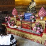 Another small temple altar with offerings.