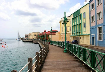 Along the harbor in Bridgetown.