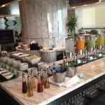 Nice spread at Tempo including fresh juices, continental American, Asian and French