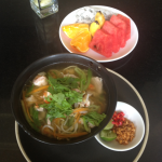 Breakfast at the hotel--I highly recommend it--delicious fruit and shrimp noodle soup for me.