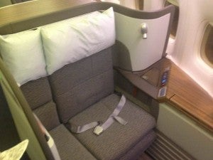 My First Class seat on Cathay from HKG-Vancouver.