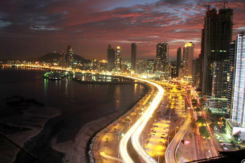 Panama City at dusk.