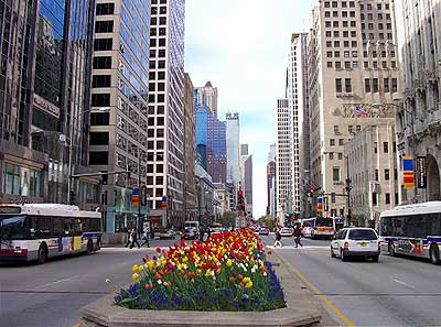 Michigan Avenue has world-class shopping.