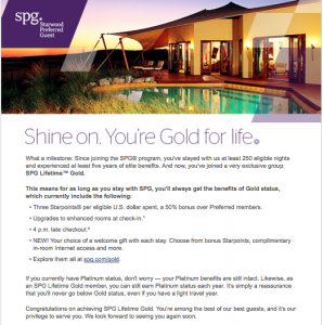 The email welcoming to SPG Lifetime Gold Status.