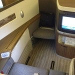 An overhead shot of the Cathay First Class seat.