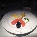 Caviar and salmon starter.