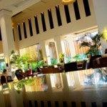 The hotel lobby.