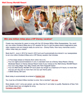Take 10 Seconds to Register for a Million US Airways Miles and VIP Disney Vacation
