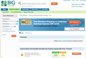 Earning Points With American Express Gift Card Purchases, Plus Free Shipping Promo Codes and Cashback