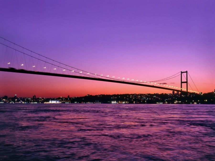 The graceful Bosphorus Bridge at dusk.