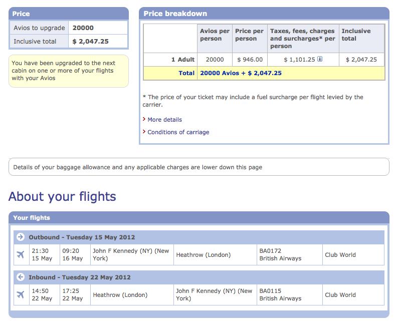 Maximizing British Airways Avios: Using Avios to Upgrade Paid ...