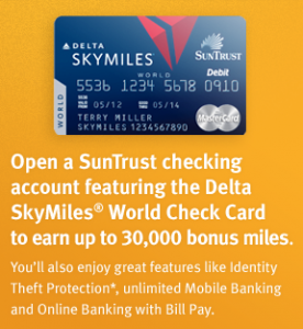 Up to 55 000 Delta SkyMiles With SunTrust Debit Cards The