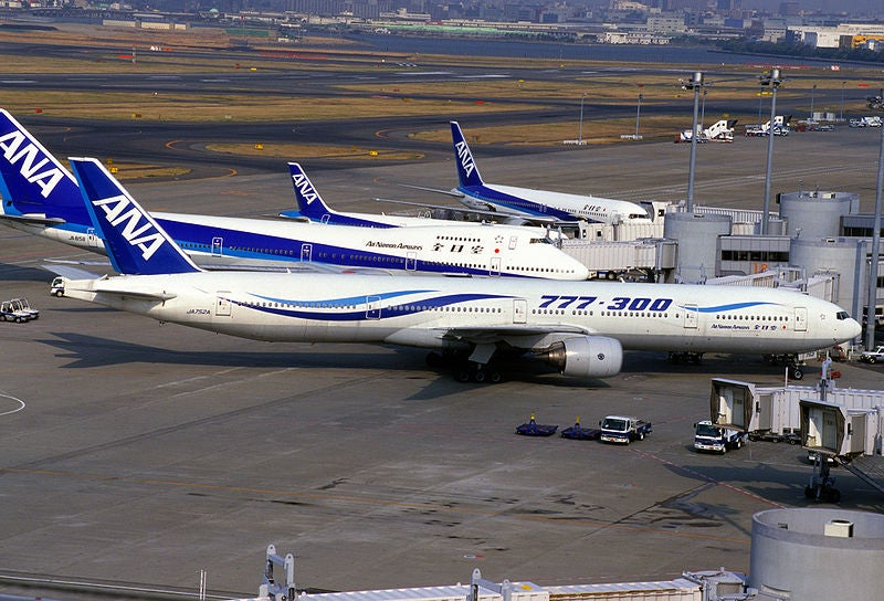 ANA planes at Haneda Airport.