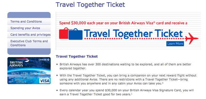"""The """"Travel Together"""" companion ticket is one of several great benefits to the British Airways Visa."""
