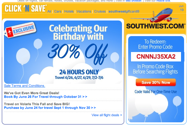 Southwest coupon code 2018