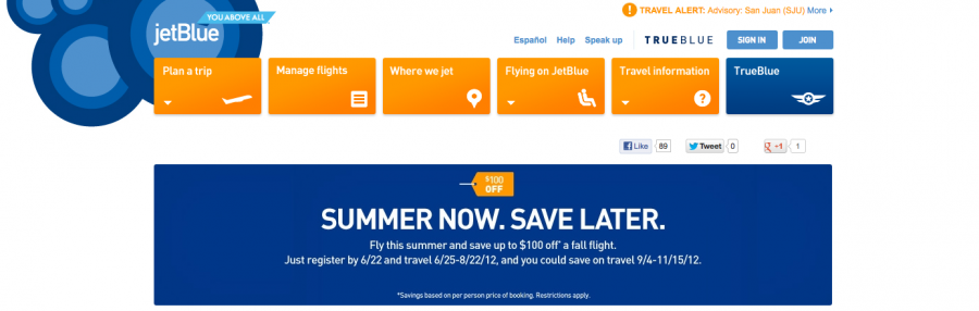 Jetblue summer sale pay now save later with discount for Airline tickets buy now pay later