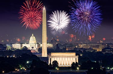 The fireworks above the nation's capital show its monuments off spectacularly. Photo courtesy of A Capitol Fourth.