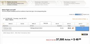 35,000 Iberia Avios to Madrid each way.