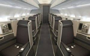 The Transcontinental A321 First Class Cabin.