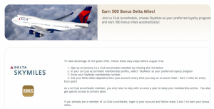 500 Free Delta SkyMiles With Accor Hotel Sign-up