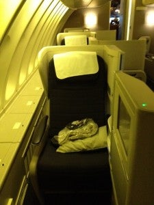 British Airways Club World seat 62A on the 747