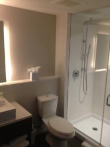 Bathroom, clean and modern with rain shower.