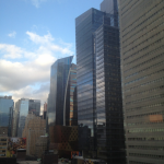 View from my hotel room of Times Square.