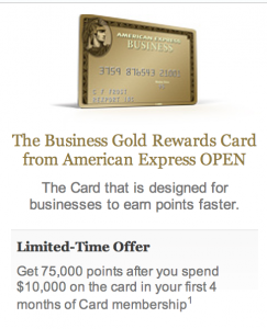 Mileage awards escalating the frequent flyer today only for Amex gold business card