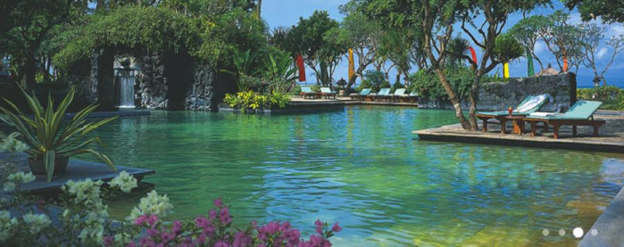 The pool and tropical foliage at the Bali Hyatt.