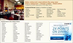 OpenTable.com has restaurants in most major cities.