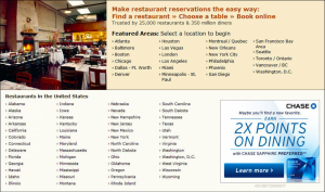 OpenTable.com has restaurants in most major cities.